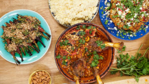 Lamb Tagine Stew along with sardines and veggie platter.