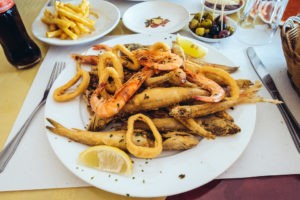 Foodies can find all sorts of seafood at a Marrakech restaurant.