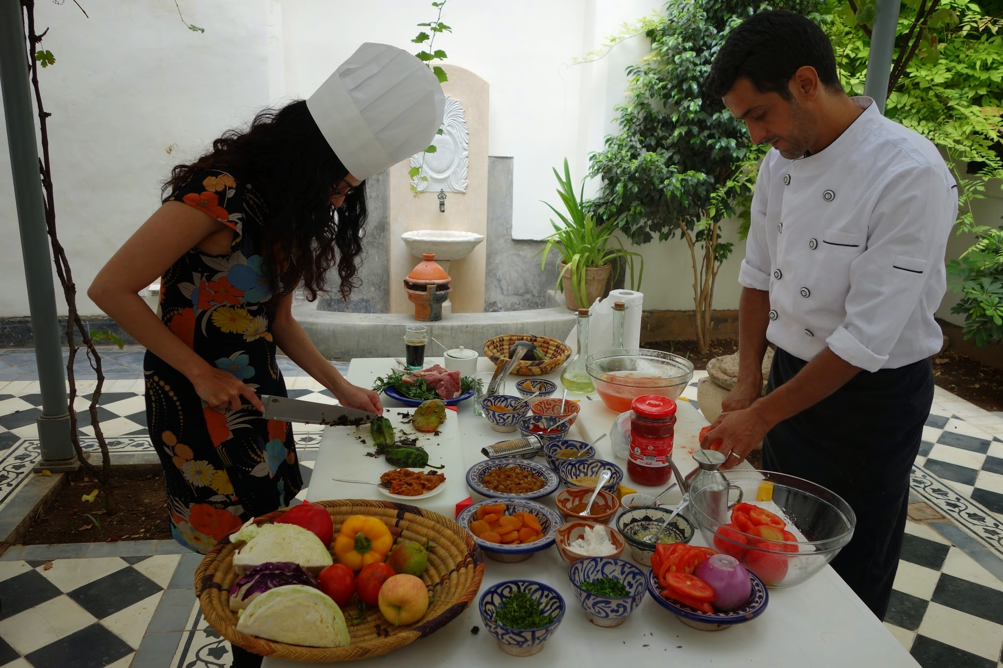 A cooking class in Marrakech can introduce you to the fundamentals of Moroccan cuisine.